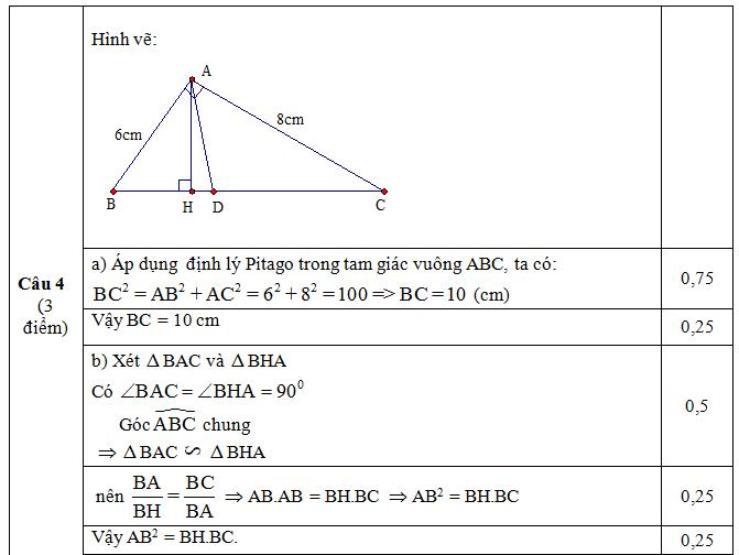 Đáp án câu 4 ý a,b