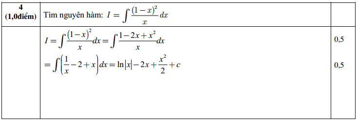 Đáp án đề thi học kì 1 môn toán 12 câu 4