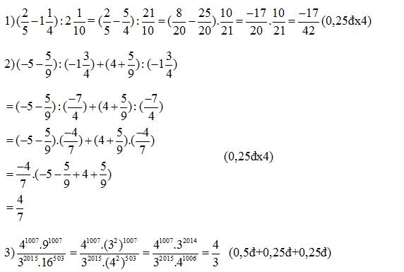 Đáp án đề thi giữa kì 1 toán 7 bài 1