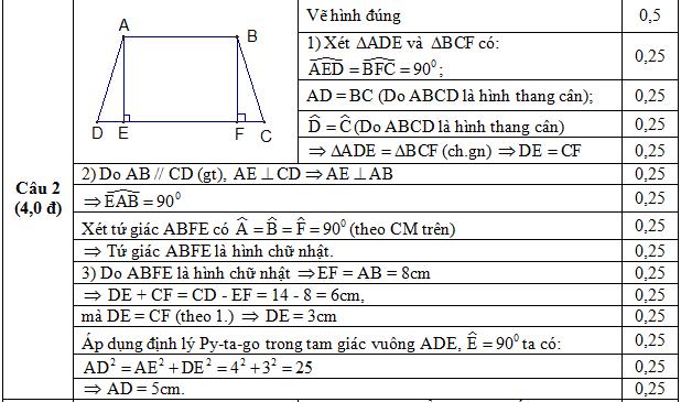 Đáp án câu 2 thi kiểm tra giữa kì 1 toán Hình 8