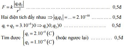 Đáp án bài 2: Thi giữa kì 1 môn Lý lớp 11