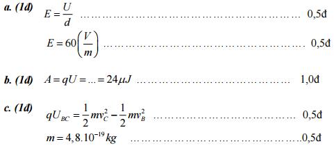 Đáp án bài 3: Thi giữa kì 1 môn Lý lớp 11