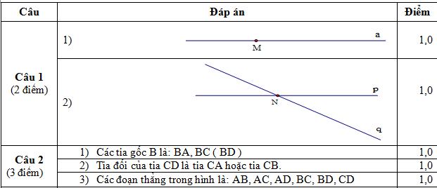 Đáp án câu 1,2 hình học