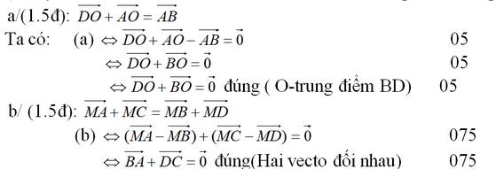 Đáp án và giải câu 1 đề kiểm tra 1 tiết hình chương 1