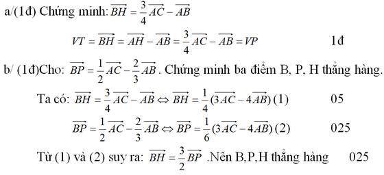 Đáp án và giải câu 2 đề kiểm tra 1 tiết hình chương 1
