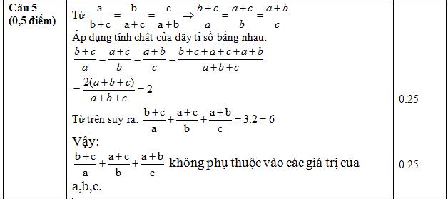 Đáp án câu 5 đề kiểm tra giữa kì 1 lớp 7