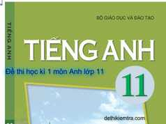 Đề thi học kì Tiếng Anh lớp 11 học kì 1: They made her ….. there for the weekend