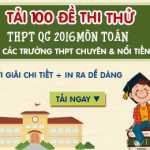 100 Đề thi thử THPT Quốc gia môn Toán năm 2016 có đáp án mới nhất