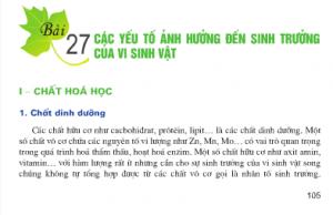 Giải bài 1,2,3 trang 108,109 SGK Sinh 10 : Các yếu tố ảnh hưởng đến sinh trưởng của vi sinh vật