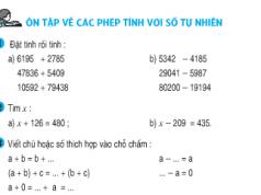 Tiết 157 bài 1,2,3,4,5 trang 164 Ôn tập về các phép tính với số tự nhiên