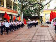 Đề thi 90 phút học kì 2 lớp 9 Toán Quận Hoàn Kiếm: Chứng minh CEDF là tứ giác nội tiếp