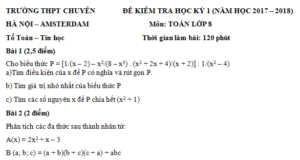 Đề toán lớp 8 cuối kì 1 của 2 trường THCS tại Hà Nội dành cho HS chuyên và không chuyên