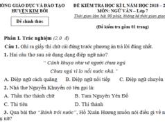 Thi kì I môn Văn lớp 7 có đáp án huyện Kim Bôi Cảm nghĩ về người thân trong gia đình em