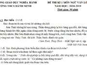 Đề thi môn Văn kì 1 lớp 6 – THCS Hành Minh mới nhất có đáp án năm 2018