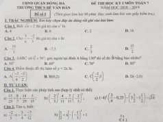 Đề thi kì 1 lớp 7 môn Toán THCS Bế Văn Đàn Chứng minh ba điểm B, D, M thẳng hàng