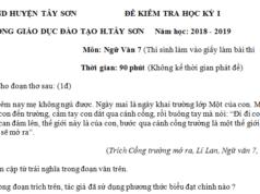 Đề kì 1 lớp 7 môn Văn huyện Tây Sơn Tìm cặp từ trái nghĩa trong đoạn văn trên