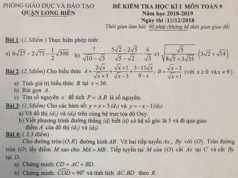 [Quận Long Biên HN] Đề thi môn Toán kì 1 lớp 9 thi ngày 13/12/2018
