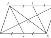 Đề kiểm tra 45 phút Chương 1 Hình học 8 Tứ giác: Chứng tỏ O là trung điểm của đoạn IJ