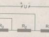 Bài 4.13, 4.14, 4.15, 4.16 trang 11, 12 SBT môn Lý lớp 9: Đặt một hiệu điện thế U = 6V vào hai đầu đoạn mạch gồm ba điện trở R1 = 3Ω ; R2 = 5Ω và R3 = 7Ω mắc nối tiếp