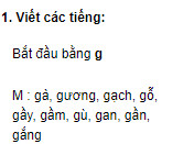 Chính tả – Tuần 2 trang 8 VBT Tiếng Việt 2 tập 1: Viết các tiếng bắt đầu bằng g: Gà, gương, gạch, gầy, gầm, gù