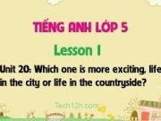 Vocabulary – Từ vựng – Unit 20 –  Which One Is More Exciting – Life In The City Or Life In The Countryside Sách môn Anh lớp 5 mới