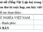 Tiết 4 – Ôn tập cuối năm trang 107, 108 VBT Tiếng Việt lớp 5 tập 2: Em hãy viết biên bản cuộc họp