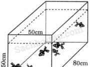 Bài trang 132 VBT Toán 5 tập 2: Một bể cá dạng hình hộp chữ nhật có các kích thước ghi trên hình vẽ dưới đây. Cần đổ vào bể bao nhiêu lít nước để 80% thể tích của bể có nước