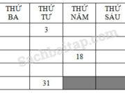 Bài 1, 2 trang 89 VBT môn Toán 2 tập 1: Tuần này, thứ bảy là ngày 13 tháng 12. Tuần sau, thứ bảy là ngày 20 tháng 12. Tuần trước, thứ bảy là ngày 6 tháng 12