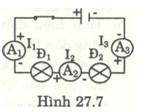 Bài 27.8, 27.9, 27.10, 27.11, 27.14 trang 69, 70, 71 SBT môn Lý lớp 7: Tínhcường độ dòng điện đi qua đèn Đ1 và và đi qua đèn Đ2 ?