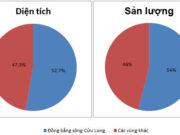 Bài 36. Vùng Đồng bằng sông Cửu Long (tiếp theo) SBT Địa lớp 9: Dựa vào bảng số liệu trên, vẽ biểu đồ thể hiện tỉ lệ diện tích, sản lượng lúa năm 2010 của vùng Đồng bằng sông Cửu Long so với cả nước